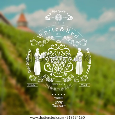wine label with grapes in centere and woman on the sides on blurred realistic background - stock vector