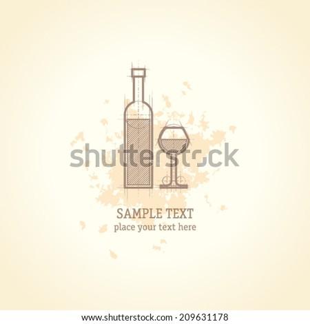 Wine list concept card - stock vector