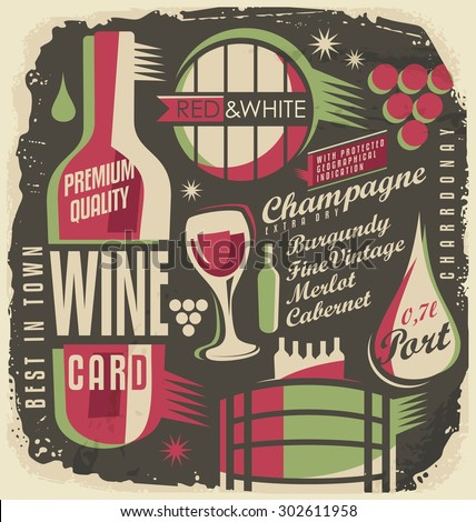 Wine list creative and unique design concept. Set of wine and drinks design elements on old paper texture. Retro poster on dark background. Restaurant menu vintage theme document template. - stock vector