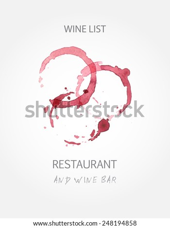 Wine list design templates with red wine stains. Vector illustration - stock vector