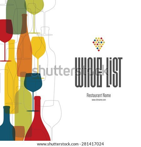 Wine list design. Vector brochure template for wine shop, winery, wine list, cafe, restaurant, bar. Food and drinks logotype symbols. Wine bottles and wine glasses. Flat design - stock vector