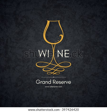 Wine list design. Vector brochure template for wine shop, winery, wine list, cafe, restaurant, bar. Food and drinks logotype symbols. Wine glasses - stock vector