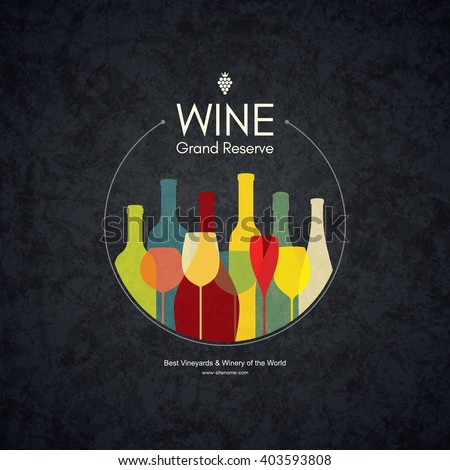 Wine list design. Vector brochure template for wine shop, winery, wine list, cafe, restaurant, bar. Food and drinks logotype symbols. Wine bottles and wine glasses - stock vector