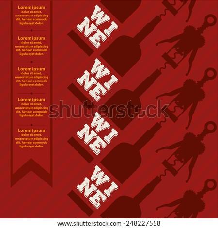 Wine list design vector illustration red background - stock vector