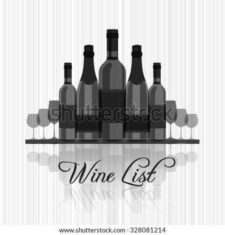 Wine list for menu - simple edition  - stock vector