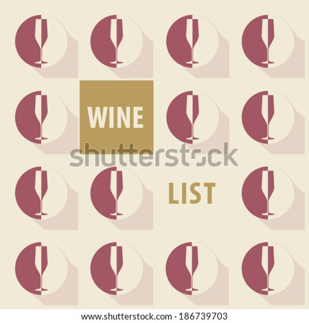 wine list glasses icons long shadow wine color