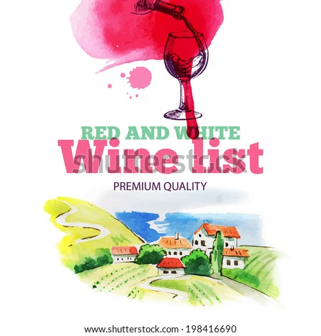 Wine list. Hand drawn sketch and watercolor illustration. Menu design	 - stock vector