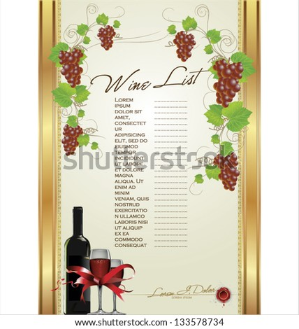 Wine List Menu Card - stock vector
