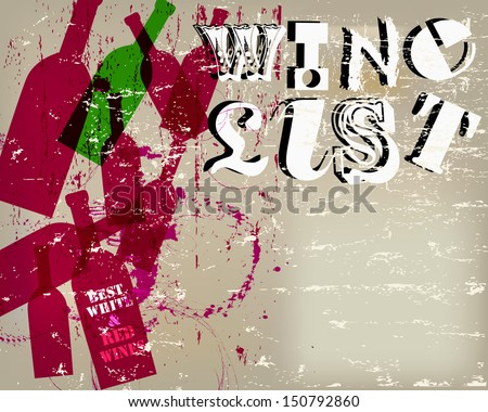 Wine List Menu Card Design, free copy space - stock vector