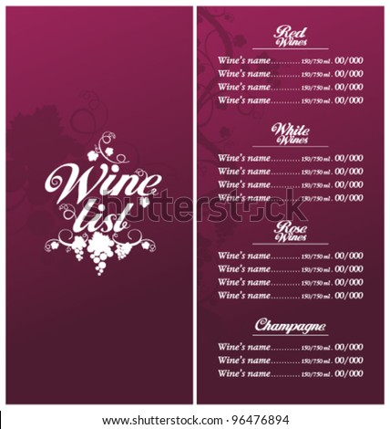 Wine List Menu Card Design template. - stock vector