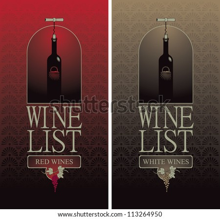 wine list with a bottle with the corkscrew - stock vector