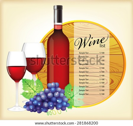 Wine list with glasses and grapes. - stock vector