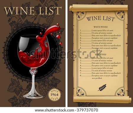 Wine list with old parchment, grapes, bottle and wineglass with splashed wine. Vintage menu template. Vector illustration - stock vector