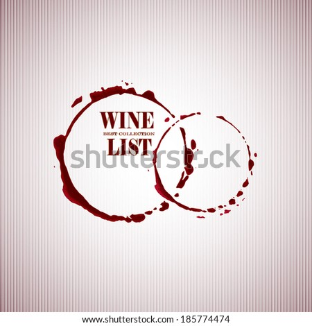 Wine list with Stain circles in red tones. Vector background. - stock vector