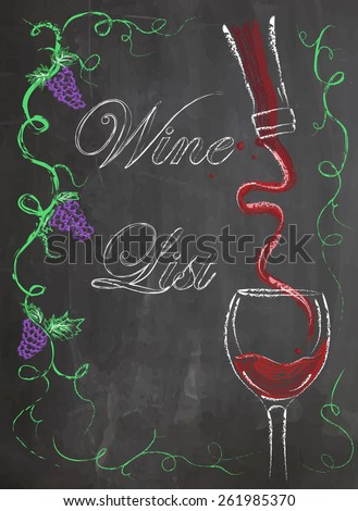 Wine list with wine glass and wine bottle on chalkboard background - stock vector