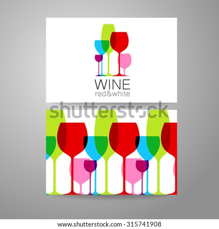 Wine - logo. Template Concept of corporate identity for the wine shop, bar, production. Business card. - stock vector