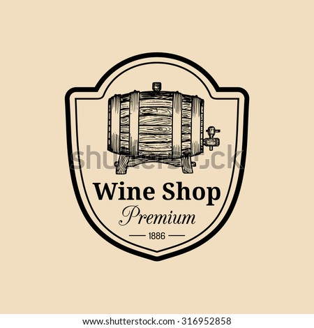 Wine logo. Vector winery sign with wooden barrel. Typographic label, badge with hand sketched keg. - stock vector