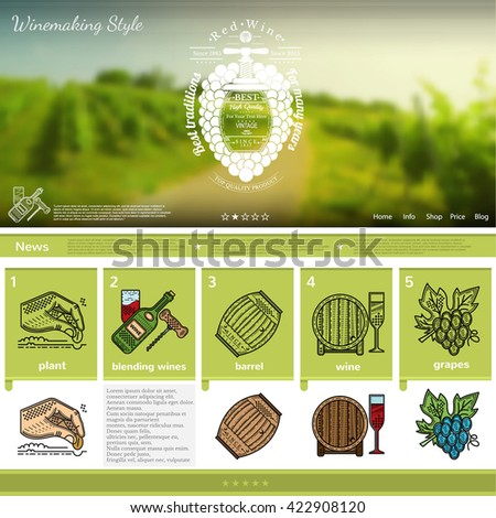 Wine making website page template on green grapes field blurred background - stock vector