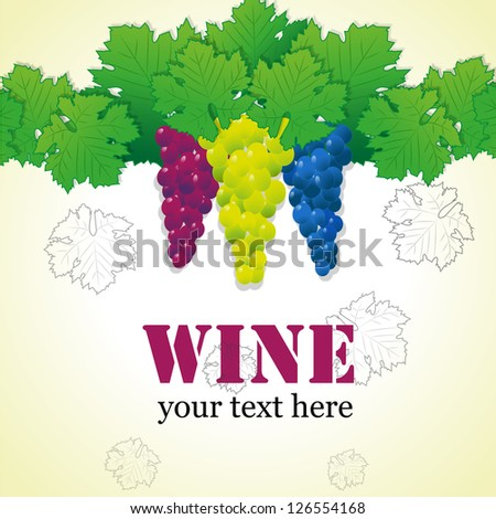 Wine Menu Card With Grapes - Vector Illustration, Graphic Design Editable For Your Design - stock vector