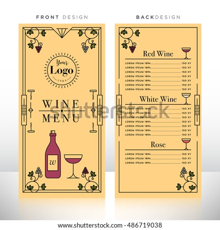 Wine Menu Design Template Stock Vector   Shutterstock