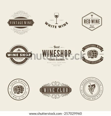 Wine Retro Vintage Labels Hipster Logo design vector typography lettering templates.  Old style elements, logos, logotypes, label, badges, stamps and symbols. - stock vector
