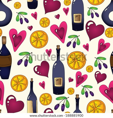 Wine seamless background in vector. Used clipping mask for easy editing. - stock vector