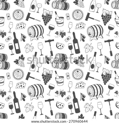 Wine seamless pattern with grapes, leaves, wine, bottle of wine and etc.  Elegant vintage design - stock vector