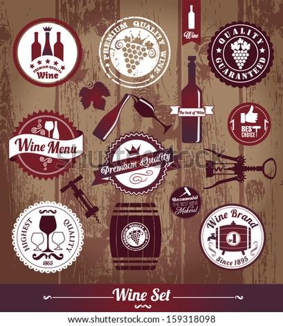 Wine set background. - stock vector