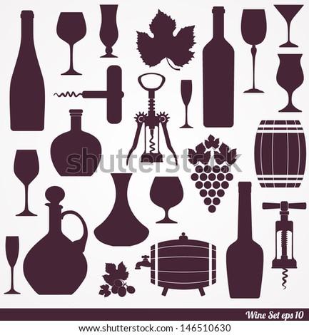 Wine set background. design element. - stock vector