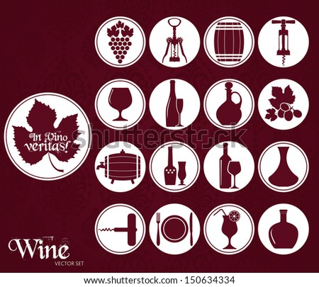 Wine set icon. - stock vector