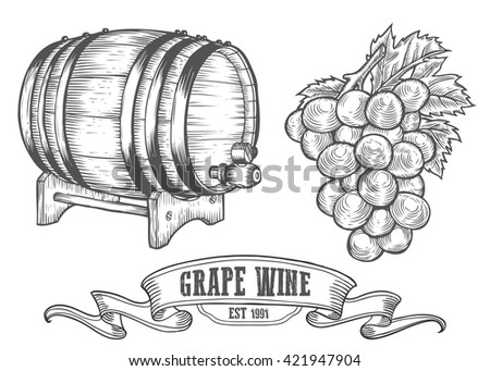 Wine set. Wine making products in sketch retro vintage style. Hand drawn wine Vector sketch illustration with wine barrel, grapes, grape twig. Classical alcoholic drink. - stock vector