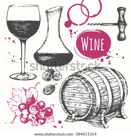 Wine set. Winemaking products in sketch style. Vector illustration with wine barrel, wine glass, grapes, grape twig, carafe wine.  Classical alcoholic drink. - stock vector