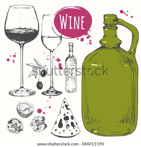 Wine set. Winemaking products in sketch style. Vector illustration with wine glass, old wine bottle, cheese, walnuts, olives. Classical alcoholic drink. - stock vector