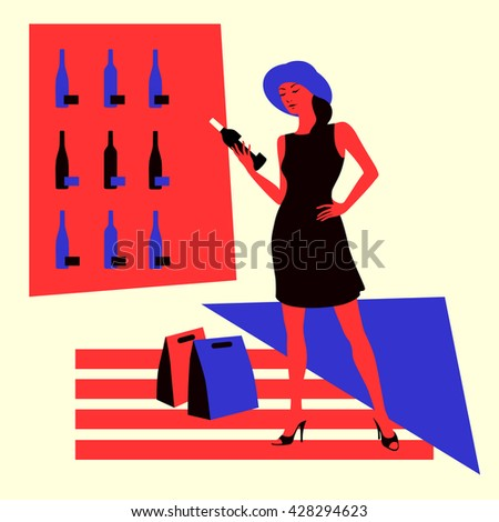 Wine shopping. Woman in a wine store, choose a bottle of wine. Vector illustration