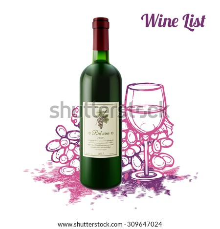 Wine sketch concept with realistic bottle and sketch grape bunch on background vector illustration - stock vector