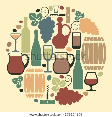 Wine symbols in the form of circle - stock vector