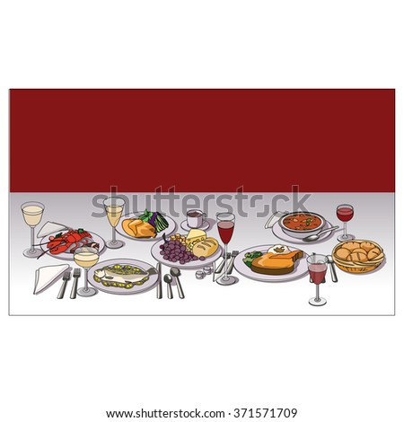 Wine Table Setting Various Food Entrees Stock Vector 371571709 ...