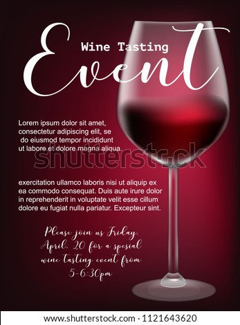 Wine tasting event flyer template vector stock vector 1121643620 wine tasting event flyer template vector illustration transparent glass with red wine calligraphic maxwellsz