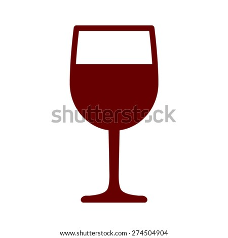 Wine tasting glass flat icon for apps and websites - stock vector