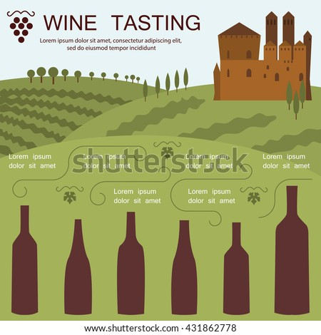 Wine tasting invitation card in modern flat design. Landscape of Tuscany Italy. Wine bottles silhouette. Place for your text. Vector eps10 illustration - stock vector