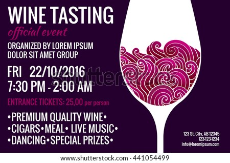 wine tasting party flyer stylized glass stock vector royalty free 441054499 shutterstock. Black Bedroom Furniture Sets. Home Design Ideas