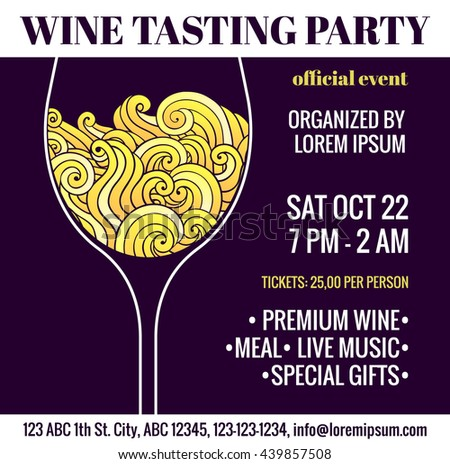 Wine tasting party flyer with stylized glass of white wine with swirls inside. Degustation invitation. EPS 10 vector design template. - stock vector