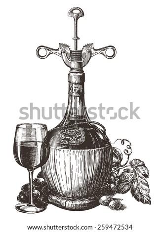 wine vector logo design template. grape or drink icon. - stock vector