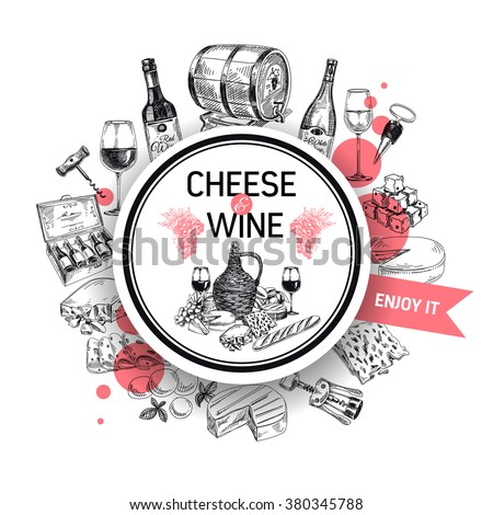 Wine vector/Wine background/Wine card/Red Wine/white wine/wine sketch/Wine illustration/Wine and Cheese card/Wine bottle/Cheese and wine set/vintage menu card/Winery illustration/Template design - stock vector