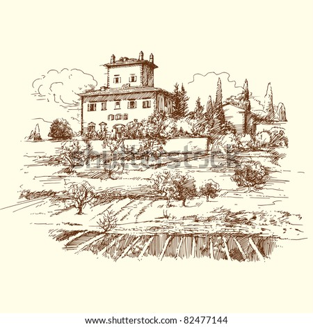 wine, vineyard, winery - hand drawn landscape with vineyard and old villa