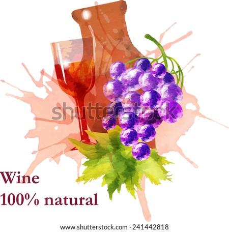 Wine vintage background. Hand drawn illustration.  - stock vector