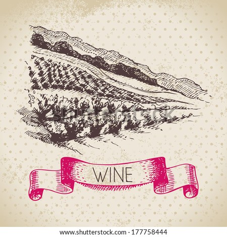 Wine vintage background. Hand drawn sketch illustration - stock vector