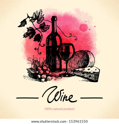 Wine vintage background. Watercolor hand drawn illustration - stock vector