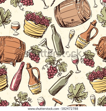 Wine vintage hand drawn seamless pattern. - stock vector