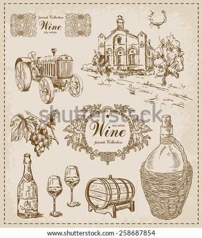 Wine. Vintage set.  - stock vector